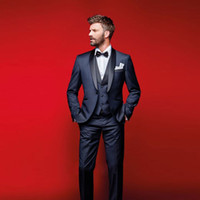 Wholesale White Pants For Prom - Classy Navy Blue Wedding Tuxedos Slim Fit Suits For Men Groomsmen Suit Three Pieces Cheap Prom Formal Suits (Jacket +Pants+Vest+Bow Tie)