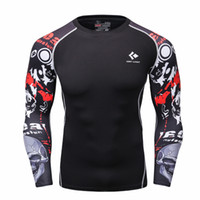 Wholesale Wholesale Mens Base Layer Shirts - Wholesale- Men Compression Shirts MMA Rashguard Keep Fit Fitness Long Sleeves Base Layer Skin Tight Weight Lifting Elastic Mens T Shirts