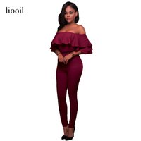 Wholesale Elegant Shorts Rompers - Red Ruffles Summer Jumpsuit Short Sleeve Sexy Strapless Backless Bodycon Women Rompers Stretch Elegant Jumpsuits Overalls 17411