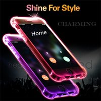 Wholesale New Invention Led - New Invention Led flash light Back Cover for iPhone 7 Call Led Flashing Light Phone Shell