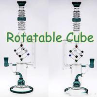 Wholesale cubed function - Christmas Gift Hookah Bongs Rotatable Cube Oil Burner Glass Dab Rig Water Bongs Oil Rigs Water Pipe Beaker Pipes Two Functions Pipes