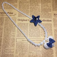 Wholesale Pearl Bow Tie Necklace - Fashion Cute Kawaii Kids Imitation Pearl Star Big Love Heart and Bow Tie Necklace for Girl Kids Gift Choker Jewelry Accessory Wholesale