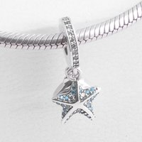 Wholesale Glass Starfish Shells - Authentic 925 Sterling Silver Bead Charm Starfish & Shell With Crystal Pendant Beads Fit Women Pandora Bracelet Bangle Diy Jewelry