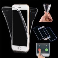 Wholesale Edge Protector Silver - 360 Degree Full Body Soft TPU Case Front Back Cover Touch Clear Protector for iphone X 8 7 6 6S plus Samsung S9 S8 plus S7 edge