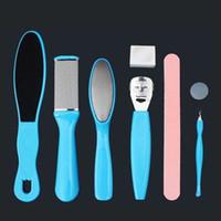 fußpflege kits großhandel-Mode Kunst Zubehör 8 IN 1 Pediküre Kits Raspelfeile Hornhautentferner Set Blau Nagelpflege Werkzeuge (Größe: PJD002, Farbe: Blau)