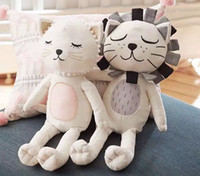 Wholesale soft stuffed animals for babies - Cute Stuffed Cat Doll Lion Stuffed Doll Plush Comforting Soft Cartoon Animal Toys Instagram Baby Bedding Toys for Girls Kids Bedroom Decor