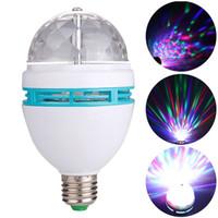 Wholesale Disco Lights Power Led - Laser lights E27 3W AC90-250V Colorful Auto Rotating RGB LED Bulb Stage Light Disco DJ Party Lamp Holiday Bulb For Bar KTV Lighting