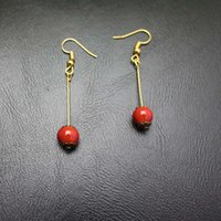 Wholesale Retro Ceramic Fruit - Contracted retro style long pattern lucky ceramic beads autumn fruits pendant earring stud earrings for women gift Drop Shipping