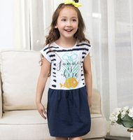 Wholesale Wholesale Kids Beach Clothing - Baby girls princess dresses children animal fish printed cotton dress kids Shell sleeves stripe beach style dress children clothes G0055