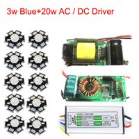Wholesale 2w Led Bead - Wholesale- 10pcs 2W 3W 45mil Blue 445nm-460nm With 20mm   16mm Base Plates Substrate LED Bead Chip For Plant Grow + 20W AC   DC LED Driver