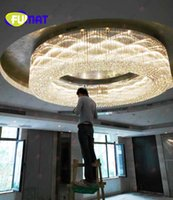 FUMAT Luxury Large Engineering Hall Luz de techo Crystal Circular LED Light Living Room Hotel Villa KTV Edificios de oficinas Moda