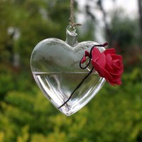 gafas de decoración para el hogar al por mayor-Clear Heart Glass Hanging Florero Botella Terrario Contenedor Planta Olla Flor DIY Home Wedding Garden Decor