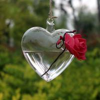 Wholesale glass bottle garden - Clear Heart Glass Hanging Vase Bottle Terrarium Container Plant Pot Flower DIY Home Wedding Garden Decor