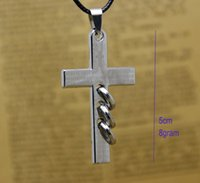 Wholesale Steel Adjustable Neck - Supply church gifts cross jewelry pendant necklaces men's jewelry women neck necklaces black adjustable wax rope chain free shipping