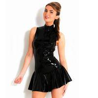 Wholesale Gothic Mini Dresses - Sexy Gothic Club Dress Black Faux Leather Pleated PVC Latex Mini Dress With Zipper Bodycon Night Clubwear Bondage Catsuit 639