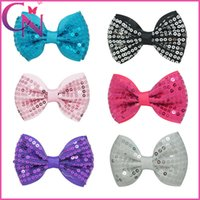 Wholesale Small Ribbon Bow For Hair - Mini Sequin Hair Bows Baby Girls Small Cute Hair Accessories Clips Solid Ribbon Hair Bow For Children
