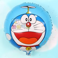Wholesale Doraemon Birthday - 50pcs Mini size Round cute Pokonyan robotic hero cat Doraemon shape foil Balloons Birthday party decoration kids toys globos