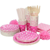 Wholesale Cutlery Set Polka Dots - Wholesale-Promotion Rose Red & White Polka Dots Tableware Party paper plate cups napkins paper straw Cutlery Set Knives Forks Spoons