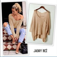Wholesale Knitting Blouses Wholesale - Wholesale- 2016 Autumn Winter Women Sweater Jumper Pullover Batwing Long Sleeve Casual Loose Solid Blouse Shirt Top Plus Femininas Blusas