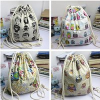Wholesale string bag owl resale online - 50pcs New Arrival Backpack style cotton canvas Brief Animals Owls Birds printed women girl Drawstring Shoulder Bags Backpack bags