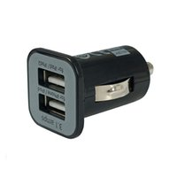 Atacado HOT / Black 5V 2.1A + 1A 2-Port Mini Universal Dual USB Car Charger Adaptadores para iPhone iPad
