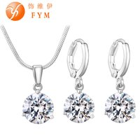 Conjuntos de jóias de 21 cores para mulheres Round Cubic Zircon Hypoallergenic Copper Necklace / Earrings Jewelry Sets Wholesale