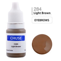Wholesale Permanent Eyeliner - CHUSE Permanent Makeup Ink Eyeliner Tattoo Ink Set Eyebrow Microblading Pigment Professional Encre A Levre 10ML Light Brown C284 Dermatest
