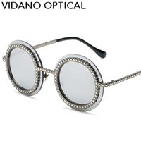 Wholesale Birthday Sunglasses - Vidano Optical Fashion Frameless Round Women Sunglasses Luxury Brand Design Sun Glasses Valentine Birthday Gift Present UV400 Free Shipping
