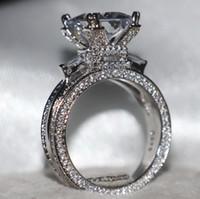 eiffel schmuck großhandel-Größe 5-11 Luxus Schmuck 12CT Weiß Topaz Edelsteine 925 Sterling Silber Simulierter Diamant Pflastern Hochzeit Engagement Eiffelturm Ring Geschenk
