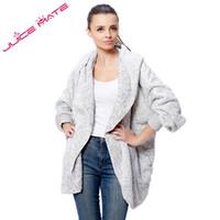 Wholesale Knitted Fashion Shrug - Wholesale-2016 Autumn Fashion Oversized Fleece Cardigan Women Two-Tone Poncho Capes Batwing Open Front Shrug Cardigan With Hood And Pocket