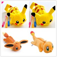 Wholesale Plush Dolls Case - Novelty 4Designs Plush Pikachu - 23CM Approx. Plush Bag Stuffed Toy of Plush Toy Doll Pencil Case