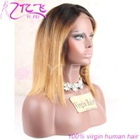 Wholesale YiFei Short Bob Ombre Human Hair Full Lace Wig For Black Women Straight Brazilian Remy Hair Two Tone Ombre lace front wigs