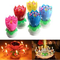 Flower Christmas Birthday Decorative Candles Amazing Romantique Musical Lotus Rotation Happy Birthday Bougies Pour Gâteau