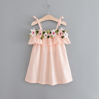Wholesale Dress Sashes Diamonds - Hug Me Girls Dress Kids Clothing 2017 Summer Embroidery Lace Dress Fashion Sleeveless Pearl Diamond Princess Dress FF-120