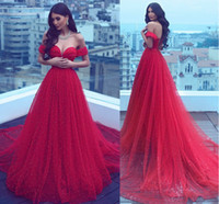 Wholesale Crepe Satin Line - Sexy Off Shoulder Full Beaded Pearls Evening Dresses 2017 Sweetheart Neck Tiered Tulle Red Formal Gowns Court Train Lace Up Back