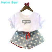 Wholesale Bear Hello - Wholesale- Humor Bear Girls Clothes 2016 Brand Girls Clothing Sets Kids Clothes Cartoon Children Clothing Hello Tops+Shorts clothing set