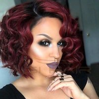Wholesale Ombre Hair African - Synthetic Wigs for Black Women Red Wig African American Short Wigs Natural Cheap Curly Hair Heat Resistant Wig for Women Sale