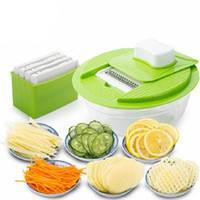 Wholesale Potato Free - Vegetable Slicer Dicer Fruit Cutter Slicer With 4 Interchangeable Stainless Steel Blades Potato Slicer Tool Free Shipping