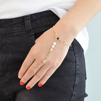 Wholesale Punk Rock Gold Silver Color Chain Bracelet with Ring