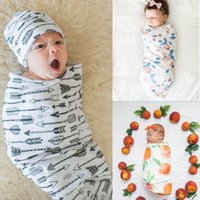 Wholesale nfant Baby Peach Fruit Swaddle Sack Baby Soft Cotton Full Arrow Printed Cocoon Sleep Sack With Matching Headband Sets