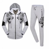 Wholesale Skull Knit Cardigan - 2017 New Arrived Autumn Winter Hot Sell Men's Tracksuit Hoodies Sweatshirts QP Print Skull Tiger Jacket Pants Trousers Sports Suit 18602