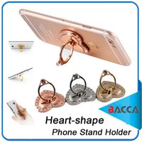 Wholesale Heart Phone Holder - Luxury 360 Degree Diamond Heart-shaped Finger Ring Mobile Phone Holder for Iphone8 Samsung note 8 all Smartphone