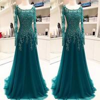 robe de mariée achat en gros de-Vintage Hunter vert manches longues mère de la mariée robe de marié formel saoudien arabe arabe du cou scoop appliques longues robes de soirée robes