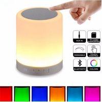 Wholesale Touch Sensor Led Lamp Speaker - LED Night Light NEW touch sensor smart multifunction led dimmable night light with wireless bluetooth speaker Bedside lamp