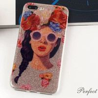 Wholesale Smoothing Plastic Phone Case - Top quality Phone cases for iphone 6 6s 7 case 7 plus case cute girl tiger nner printed glitter smooth surface