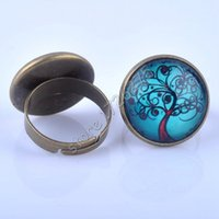 Wholesale Bronze Cabochon Ring Settings - ring pass (18pcs lot) New 18mm Life of Tree Glass Cabochon Vintage Ring Antique Bronze Plated Rings for women Jewelry Adjustable XY160008