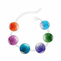 Wholesale Time Beads Charms - 6 Colors Game of Thrones Dragon Egg Scale Strand Link Charms Bracelet Time Gem Cabochon Bracelets for women