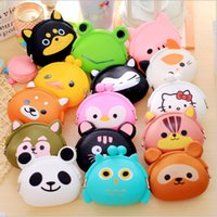 Vente en gros- Nouvelle mode Lovely Kawaii Candy Color Cartoon Animal Femmes Femmes Portefeuille Multicolor Jelly Silicone Coin Bag Purse Kid Gift
