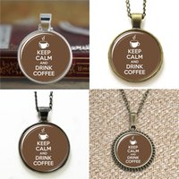 Wholesale christmas drinks - 10pcs Keep Calm and Drink Coffee glass Necklace keyring bookmark cufflink earring bracelet