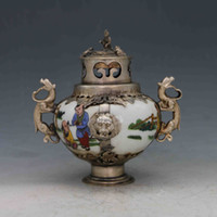 China Antique Porcelain Inlaid Tibetan SilverMonkey Lid Incense Burner X0221